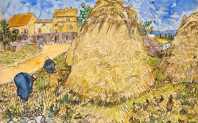 La peinture «Meules de blé» (1888) de Vincent van Gogh, qui sera proposée dans la vente dédiée «The Cox Collection : The Story of Impressionism», à New York, le 11 novembre 2021. L'aquarelle, volée par les nazis pendant la Seconde Guerre mondiale, est estimé à 20-30 millions de dollars. (Crédit : Christie's)