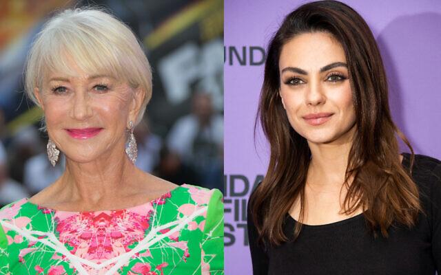 Les actrices Helen Mirren, à gauche, et Mila Kunis. (Crédit : AP)