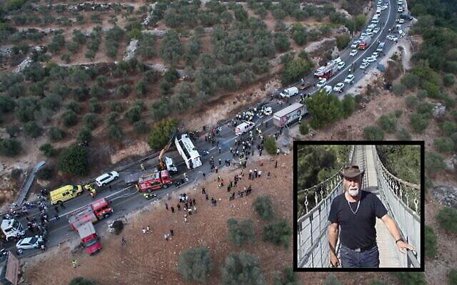 Le lieu d'un accident mortel entre un bus et deux véhicules sur la route 89 dans le nord de la Galilée, le 29 septembre 2021. Encart : Asher Basson. (Crédit : Eyal Merom / United Hazala, autorisation)