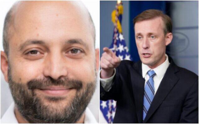 Le président du Conseil de Sécurité Nationale, Eyal Hulata (à gauche), et le conseiller à la Sécurité Nationale des États-Unis, Jake Sullivan. (Crédit : Composite/autorisation, AP)