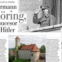 L'édition du 24 octobre 2021 du journal El Mercurio du Chili contient un article sur Hermann Göring. (Capture d'écran via JTA)