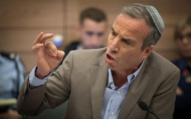 Le député Elazar Stern lors d'une réunion de la commission des Affaires intérieures à la Knesset, le 20 février 2018. (Crédit : Yonatan Sindel/Flash90)