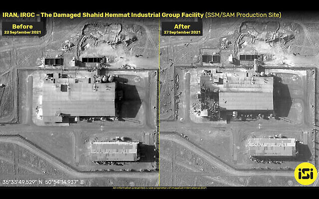 Photos avant et après l'explosion d'une base de missiles iranienne présumée, le 27 septembre 2021. (Crédit : ImageSat International)