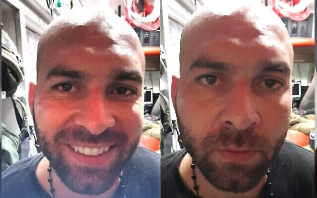 Iham Kamamji sur une photo du Shin Bet (à droite) et une photo trafiquée pour les réseaux sociaux (à gauche). (Crédit : Shin Bet/Chiffrage d'écran)