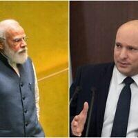 Le Premier ministre indien Narendra Modi (à gauche) et le Premier ministre Naftali Bennett. (Crédit : Composite/AP)