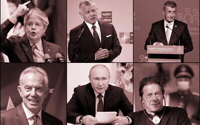 Dans le sens des aiguilles d'une montre, en partant du haut à gauche : Guillermo Lasso, président de l'Équateur, Abdullah II, roi de Jordanie, Andrej Babis, premier ministre de la République tchèque, Imran Khan, premier ministre du Pakistan, Vladimir Poutine, président de la Russie, Tony Blair, ancien premier ministre britannique. (Crédit : AP Photo, pool via AP)