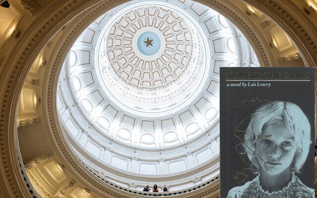 """Le roman sur la Shoah """"Number the Stars"""" sur une vue de la rotonde du Capitole de l'Etat du Texas (Crédit : Tamir Kalifa/Getty Images/JTA)."""