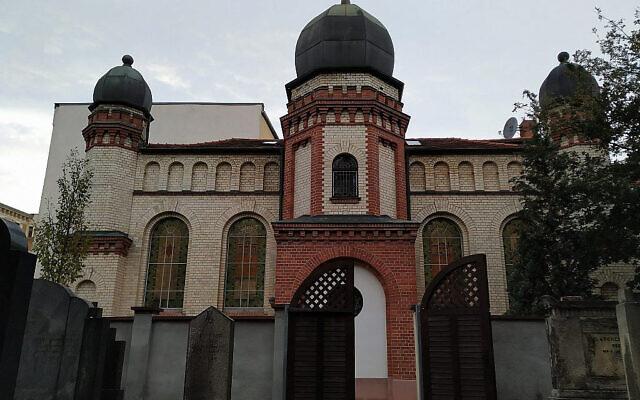 La synagogue de Halle, en Allemagne, le 11 octobre 2019. (Yaakov Schwartz/ Times of Israel)