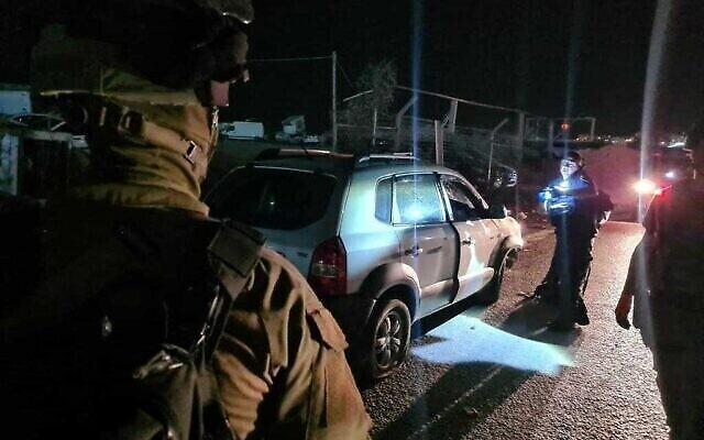 La scène d'une attaque à la voiture bélier près du poste de contrôle de Qalandiya le 8 octobre 2021. (Police des frontières)