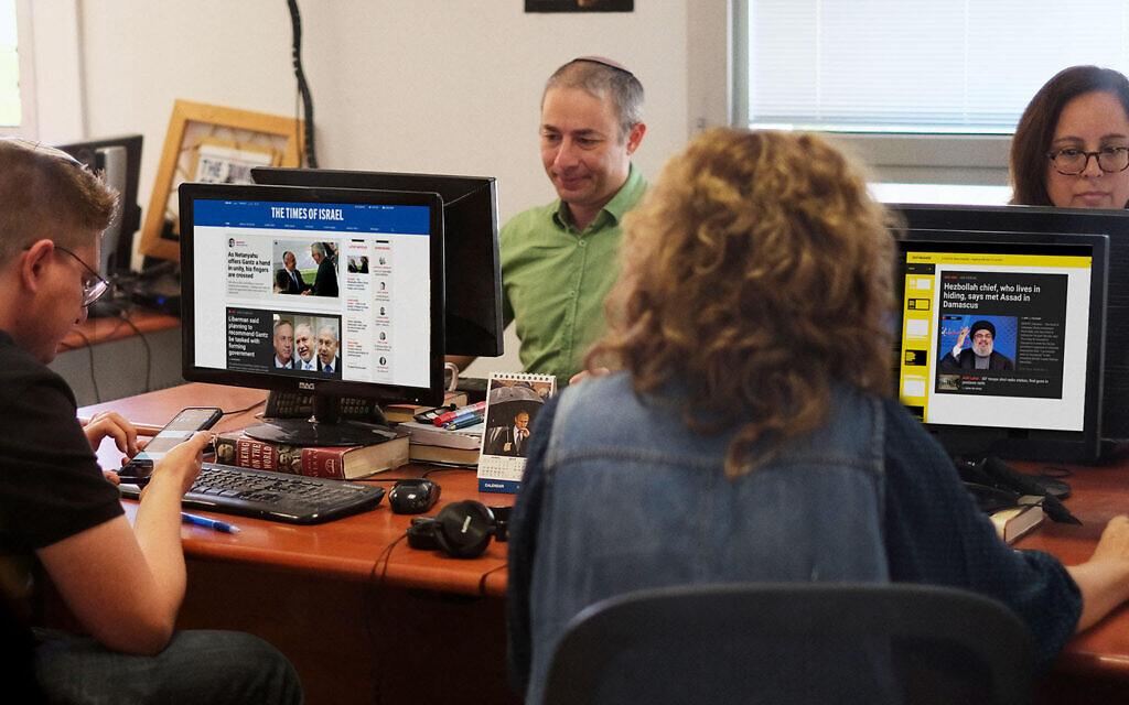 La salle de rédaction du Times of Israel à Jérusalem. (Crédit : staff)