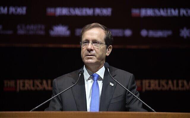 Le président Isaac Herzog s'exprime lors de la conférence du Jerusalem Post à Jérusalem, le 12 octobre 2021 (Kobi Gideon, GPO).
