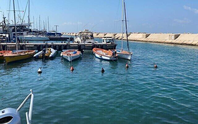 La zone du port de Jaffa où un missile a été découvert, 30 septembre 2021 (Police israélienne)