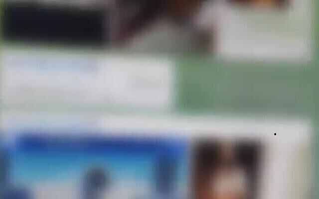 Capture d'écran d'une vidéo de la police israélienne montrant des images et des vidéos de centaines de femmes nues et de mineurs qui auraient été échangés par un suspect sur l'application Telegram à leur insu, octobre 2021. (Police israélienne)