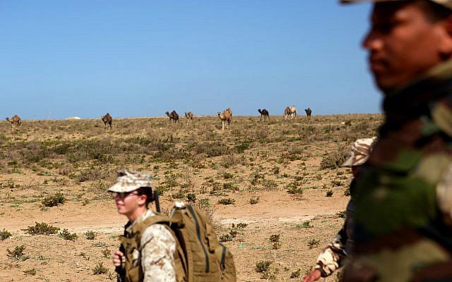 Soldats américains et marocains en entraînement dans le désert marocain. Photo : Sgt. Tatum Vayavananda