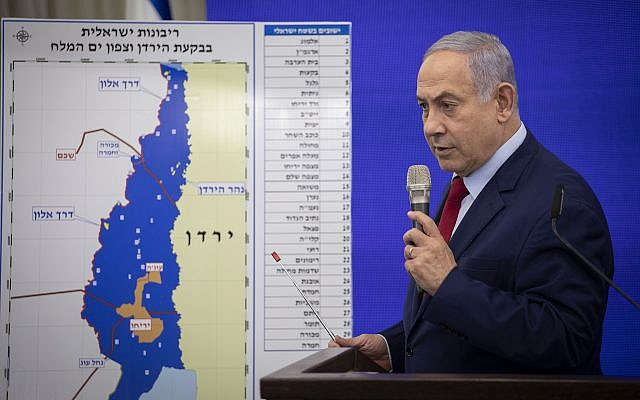 Le Premier ministre Benjamin Netanyahu a faisant une déclaration à la presse concernant la mise en œuvre de la souveraineté israélienne sur la vallée du Jourdain, le 10 septembre 2019. Photo : Hadas Parush / Flash90