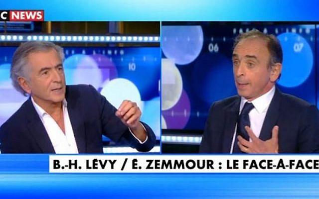 Capture d'écran de l'émission « Face à l'info ». Le philosophe Bernard-Henri Lévy et Eric Zemmour (à droite) le 21 octobre. CNEWS