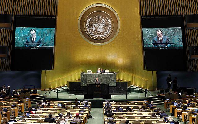 Marc-Andre Blanchard, chef de la délégation du Canada, s'adressant à la 74e session de l'Assemblée générale des Nations Unies, le lundi 30 septembre 2019. (AP Photo / Richard Drew)