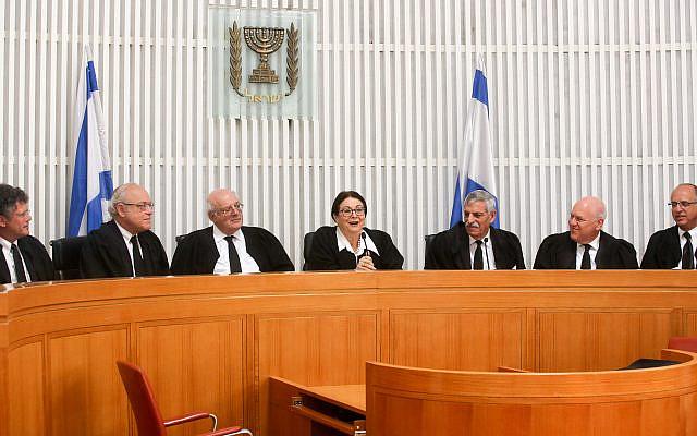 Vue générale de la salle de la Cour suprême lors d'une cérémonie pour le juge sortant de la Cour suprême Uri Shoham à Jérusalem le 2 août 2018. Photo de Marc Israel Sellem / POOL