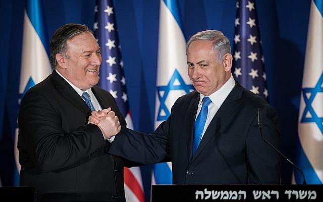 Le Premier ministre Benjamin Netanyahu et le secrétaire d'État américain Mike Pompeo prononcant des déclarations conjointes à la résidence du Premier ministre à Jérusalem le 20 mars 2019. Photo de Hadas Parush / Flash90