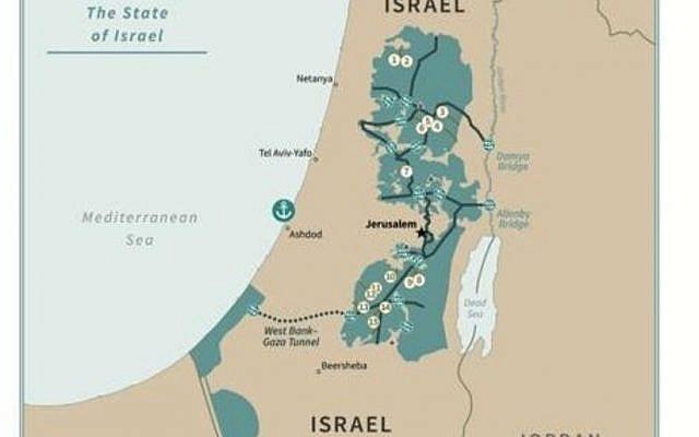 La carte d'Israël et de la Palestine telle que proposée dans le plan de paix de Donald Trump