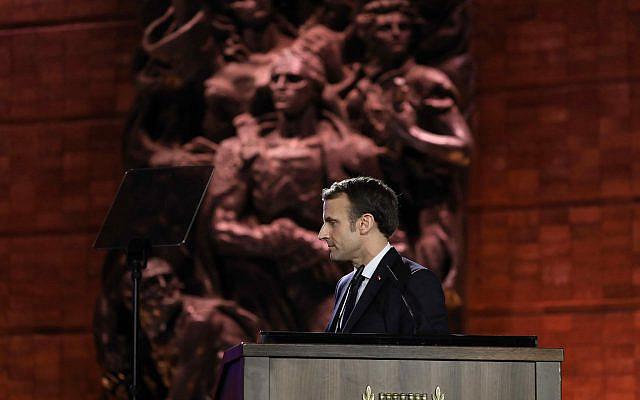 Le président français Emmanuel Macron s'exprimant lors du Forum mondial de l'Holocauste à Jérusalem, le jeudi 23 janvier 2020. (Abir Sultan / Pool photo via AP)