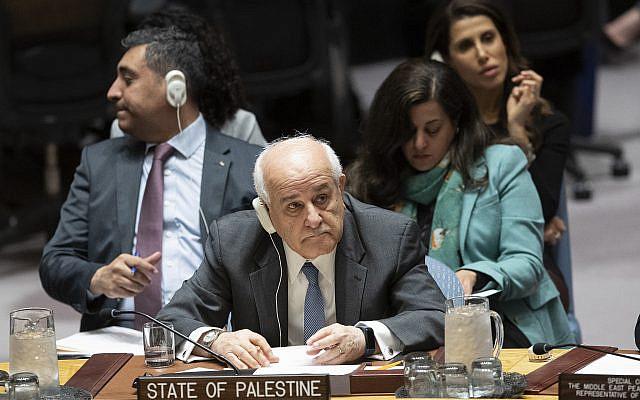 L'ambassadrice palestinienne auprès des Nations Unies, Karen Riyad Mansour, écoutant les orateurs lors d'une réunion sur le Moyen-Orient, y compris la question palestinienne, mercredi 20 novembre 2019 au siège des Nations Unies. (Photo AP / Mary Altaffer)