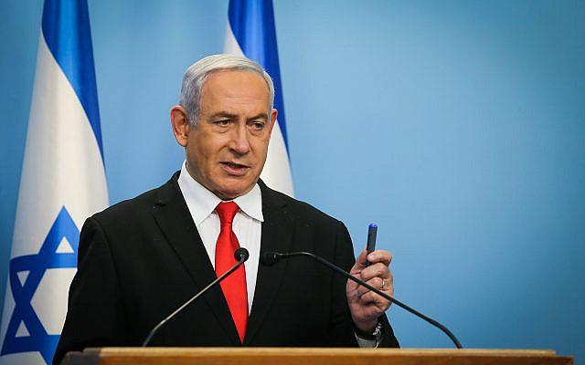 Le Premier ministre israélien Benjamin Netanyahu tenant une conférence de presse au bureau du Premier ministre à Jérusalem le 12 mars 2020. Photo d'Alex Kolomoisky / ALEX KOLOMOISKY /BASSIN