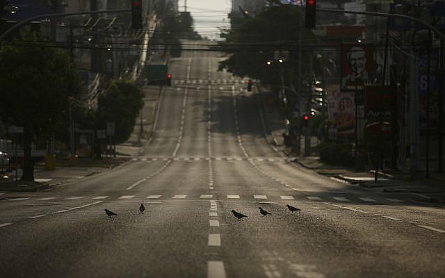 Des colombes se tenant dans une rue vide et sans circulation pendant une journée de couvre-feu total imposée par le gouvernement panaméen pour faire face à la propagation du nouveau coronavirus à Panama, tôt dimanche 5 avril 2020. (AP Photo / Arnulfo Franco)