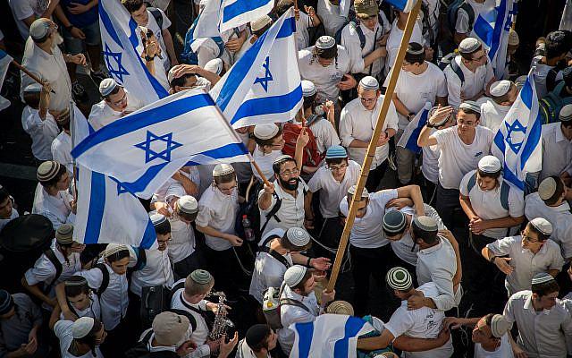 Célébration du Jour de Jérusalem à Jérusalem, le 2 juin 2019. Photo de Yonatan Sindel / Flash90