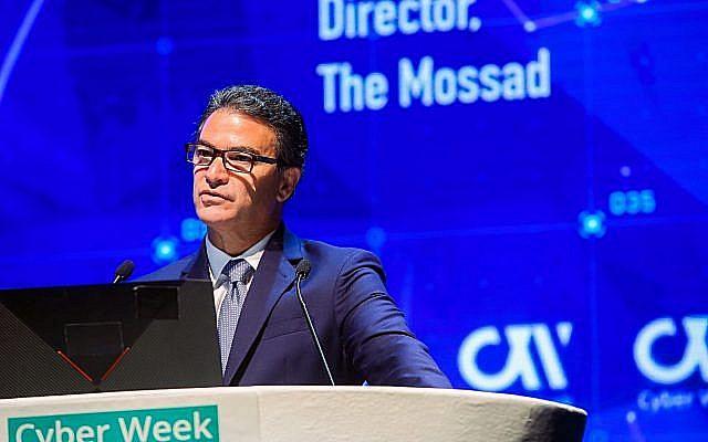 Le directeur du Mossad Yossi Cohen lors d'une conférence à l'université de Tel Aviv, le 24 juin, 2019. (Crédit : Flash90)