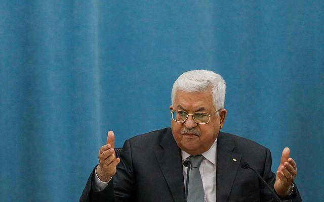 Le président palestinien Mahmoud Abbas s'exprimant lors d'une réunion des dirigeants palestiniens dans la ville cisjordanienne de Ramallah, le 7 mai 2020. Photo de Flash90