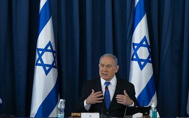 Le Premier ministre israélien Benjamin Netanyahu lors de la réunion hebdomadaire du cabinet, au ministère des Affaires étrangères à Jérusalem le 5 juillet 2020. Photo par Amit Shabi / POOL