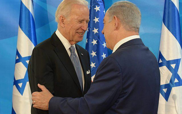 Le Premier ministre israélien Benjamin Netanyahu rencontrant le vice-président américain Joe Biden au bureau du Premier ministre à Jérusalem, le 9 mars 2016, lors de la visite officielle de Biden en Israël et de l'Autorité palestinienne. Photo par Amos Ben Gershom / GPO