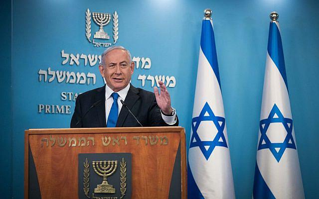 Le Premier ministre israélien Benjamin Netanyahu faisant une déclaration à la presse au bureau du Premier ministre à Jérusalem, le 13 août 2020. Photo de Yonatan Sindel / Flash90