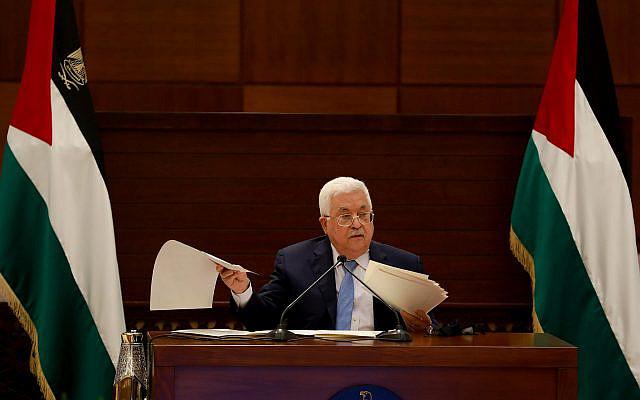 Le président palestinien Mahmoud Abbas prenant la parole lors d'une réunion des dirigeants palestiniens à Ramallah, en Cisjordanie, le 3 septembre 2020. Photo de Flash90
