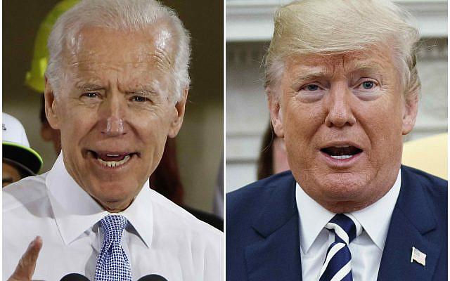 DOSSIER - Dans cette combinaison de photos d'archives, l'ancien vice-président Joe Biden prenant la parole à Collier, en Pennsylvanie, le 6 mars 2018, et le président Donald Trump prenant la parole dans le bureau ovale de la Maison Blanche à Washington le 20 mars 2018.(Photo / fichier AP)