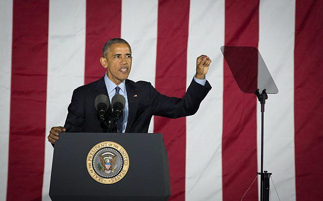 Le président Barack Obama prenant la parole lors d'un rassemblement électoral le 7 novembre 2016, à Philadelphie, Pennsylvanie, USA. Photo par Noam Revkin Fenton \ Flash90