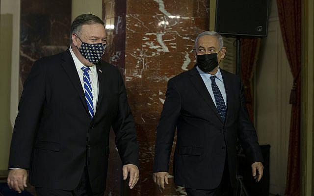 Conférence de presse conjointe du secrétaire d'État américain Mike Pompeo et du Premier ministre israélien Benjamin Netanyahu à Jérusalem le 19 novembre 2020. Photo de Maya Alleruzzo / POOL