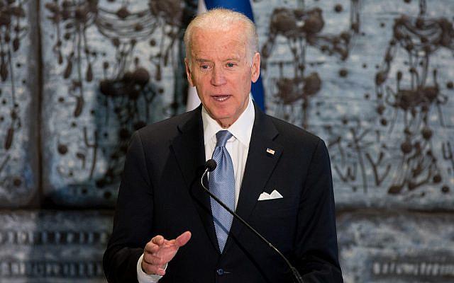 Le président des États-Unis, Joe Biden, prenant la parole à la résidence du président Reuven Rivlin à Jérusalem le 9 mars 2016. Photo de Yonatan Sindel / Flash90