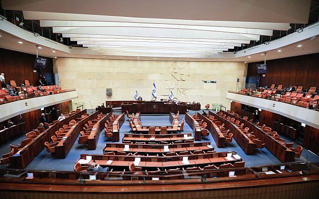 Vue d'une session plénière de la Knesset à la Knesset, le parlement israélien à Jérusalem le 24 août 2020. Photo par Oren Ben Hakoon / POOL