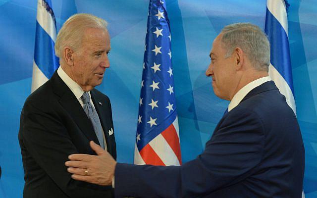 Le Premier ministre israélien Benjamin Netanyahu rencontrant le vice-président américain Joe Biden au bureau du Premier ministre à Jérusalem, le 9 mars 2016, lors de la visite officielle de Biden en Israël et dans l'Autorité palestinienne. Photo par Amos Ben Gershom / GPO