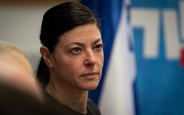 Merav Michaeli, membre du parti travailliste-Gesher, lors d'une réunion des factions du parti travailliste-Gesher à la Knesset, le parlement israélien à Jérusalem, le 2 décembre 2019. Photo de Hadas Parush / Flash90