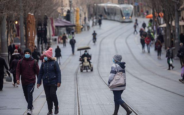 Rue Jaffa au centre-ville de Jérusalem le 3 mars 2021. Photo par Yonatan Sindel / Flash90