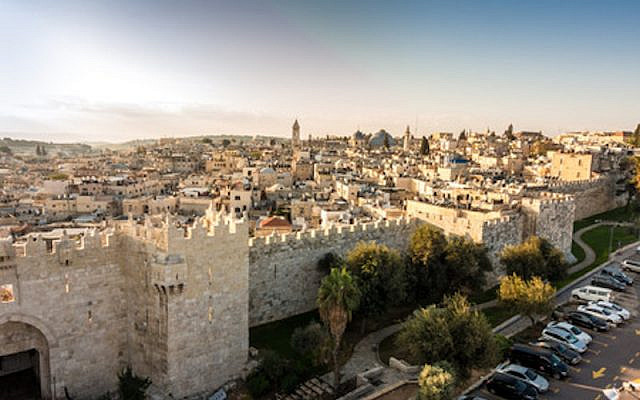 Toits de la vieille ville de Jérusalem avec la porte de Damas, Israël. Moyen-Orient © Stocklib / Jacek Sopotnicki