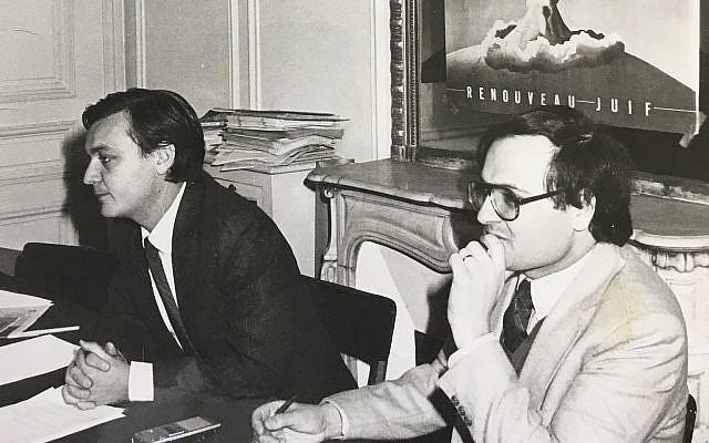 Le président du Renouveau Juif Henri Hajdenberg et Freddy Eytan lors de la campagne contre le projet nucléaire irakien. (avril 1981)