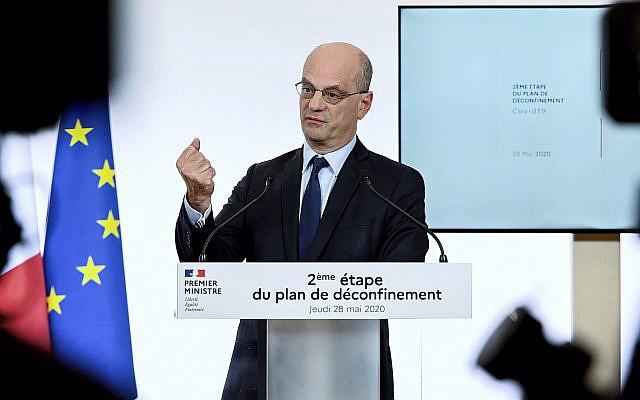 Le ministre français de l'Éducation et de la Jeunesse, Jean-Michel Blanquer, s'exprimant à Paris le jeudi 28 mai 2020. (Philippe Lopez, Piscine via AP)