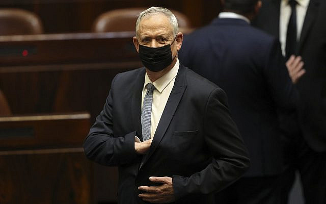 Benny Gantz lors d'une session de la Knesset à Jérusalem le dimanche 13 juin 2021. Bennett. (AP Photo/Ariel Schali22