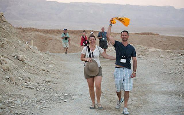 Kristen and Dan Friedman showed Pittsburgh pride after walking down Masada (Yosef Adest photo)