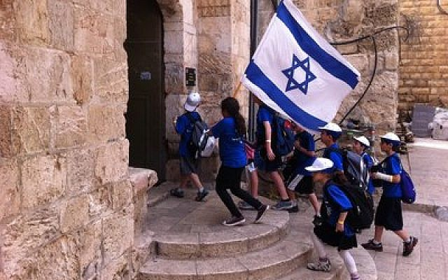 Israeli schoolchildren on the steps to King David's tomb.