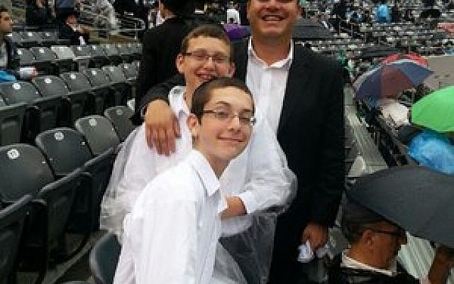 Daniel Kraut of Squirrel Hill celebrated the Siyum HaShas with his family at MetLife Stadium. (Kraut family photo)